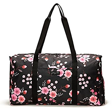 Jadyn B 22  Women's Weekender Duffel Bag with Shoe Pocket, Night Blossom