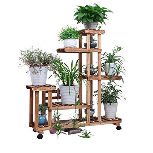 ZMM - support de fleurs Support de fleur en bois massif Étagère de poulie Support de plante Support de fleur pour balcon intérieur Étagère de sol en multicouche Support de fleur en trois dimensions