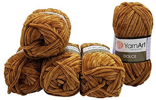 YarnArt Dolce 5 x 100 Gramm Strickwolle, Babywolle, 500 Gramm Wolle Super Bulky (braun 765)