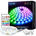 LED Strip Lights with Remote, Bason 16.4ft 4096 Colors DIY Flexible Led Color Changing Strip Lights, 12V Adapter Powered RGB LED Strips for Kitchen Home Christmas Room Decoration.…