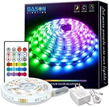 Bason Led Strip Lights,16.4ft Led Lights for Bedroom, 12V Adapter Powered Color Changing Room Lights with Remote, SMD 5050 Gaming Lights with 4096 DIY Colors, for Wall Kitchen Home Christmas Decor.