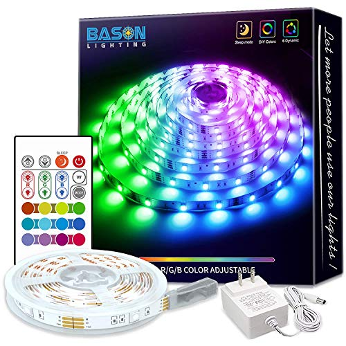 Bason Led Strip Lights, 16.4ft Led Lights for Bedroom, 12V Adapter Powered RGB Room Lights with Remote, SMD 5050 Gaming Lights with 4096 DIY Colors, for Wall Kitchen Home Christmas Decor.