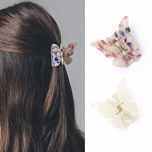 Runmi 2 Stück Haarspangen Schmetterling Haarspangen rutschfeste Haarspangen Dicke Haarspangen französisches Design Haar-Styling-Zubehör für Frauen und Mädchen