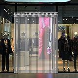 VEVOR Tenda per Porta Esterna 1.5x2.5m, Tenda a Striscia in PVC 6 Fette Trasparente, Tendaggio di Porta con Staffa e Unghie Resistenza a Vento Acqua Graffi Temperatura per Supermercati, Negozi e Sale