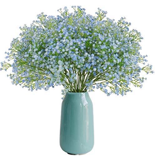Beferr 12 Pcs Gypsophila Baby Breath Artificial Flowers Bouquet, Baby's Breath Fake Flowers for Home Decor Wedding Party Office Decoration, DIY Wreath, Flower Arrangement (Blue)