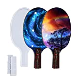 Molde de silicona de fundición de raqueta de ping pong, 2 juegos de remo de tenis de mesa, moldes de resina epoxi de cristal, bandeja de servir para bricolaje