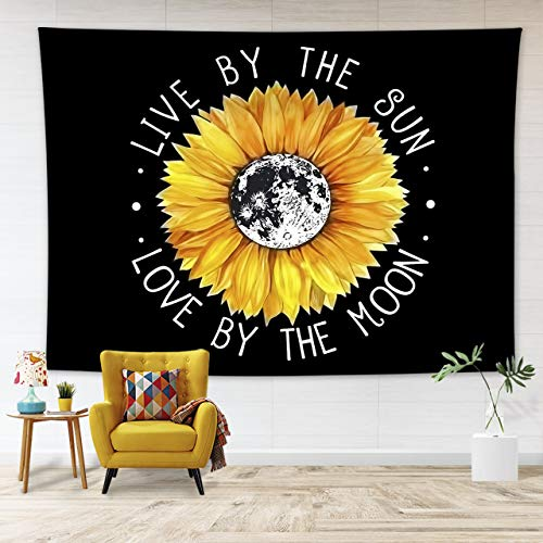 """LB Boho Style Yellow Sunlfower Tapestry Wall Hanging Flowers Live by The Sun Love by The Moon Tapestry Motivation Quote Tapestry for Bedroom Living Dining Room Dorm Decor 40"""" Wx60 L"""