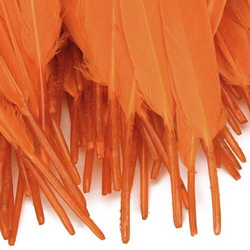 JUNGEN 100pcs Décoration Naturelle fête Mariage Anniversaire- Plumes Artificiel de chocotte d'oie - 10 à 15 cm - Lot de 100 - Couleur Orange (Orange)