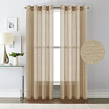H.VERSAILTEX Pair Set Nickel Grommet Natural Linen and Poly Semi-Sheers,Premium Soft Rich Material Curtain Panels for Living Room - 52x84-Inch-Tan