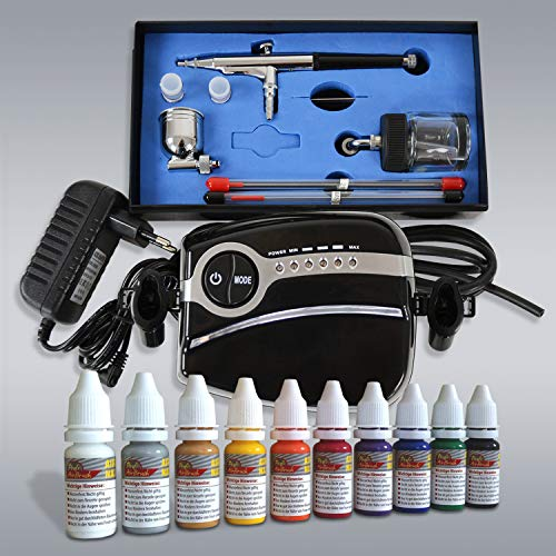 Airbrush Kompressor Set Komplett Set- Mini Kompressor Carry II Black - mit Nail Set, Universal Airbrushpistole Double Action mit 0,2mm / 0,3mm / 0,5mm mm Nadel-/Düsen-Set