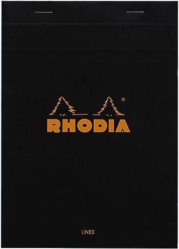 Rhodia 166009C - bloc agrafé en-tête N°16 Black, A5 (14,8x21 cm), 80 feuillets détachables, ligné avec marge, papier ...