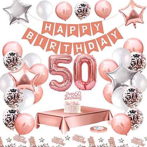 MMTX 50 Geburtstag Dekoration, Geburtstag Party Luftballon Deko mit Happy Birthday Luftballon,Druck Latex Luftballons Sterne Herz Folienballons für Schwarz Silber Junge Männer Mädchen Frauen