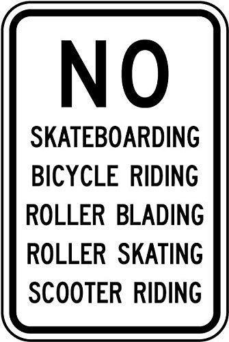 """Lionkin8 Warnschild für den Außenbereich, 20,3 x 30,5 cm, """"No Skateboarding Roller Blading"""", Aluminiumschild, Dekoration für Zuhause, Bar, Diner Pub, für Garten, Außen- und Innenbereich."""
