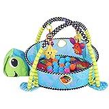 Cocoarm Baby Spielbögen Spieldecke Krabbeldecke Erlebnisdecke Activity Decke mit 4 Abnehmbaren Spielzeugen 30 Bunte Kugeln für Babys Spiel Spaß (Schildkröte)