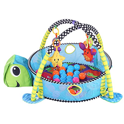 Cocoarm Baby Spielbögen Spieldecke Krabbeldecke mit Spielbogen und Spiegel Erlebnisdecke Activity Decke mit 4 Abnehmbaren Spielzeugen 30 Bunte Kugeln für Babys Spiel Spaß (Schildkröte)