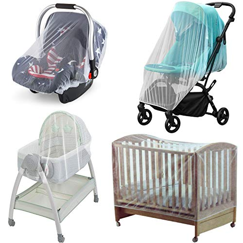Baby Bug Net for Stroller & Car Seat, Mosquito Net for Stroller 2 Pack, Portable Durable, No Harmful Chemicals, Long-Lasting Infant Insect Shield Netting, White (M+L)