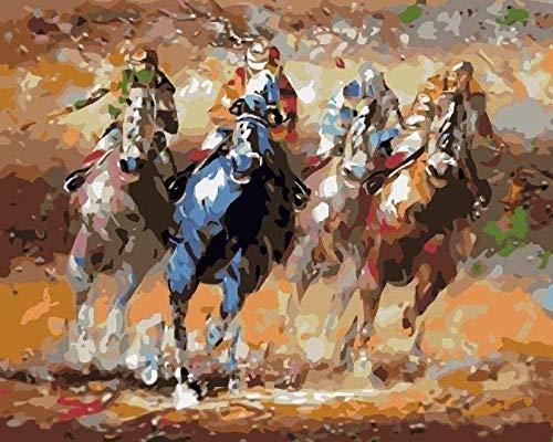GEZHF DIY Farbe von Numbershorse Riding Ölgemälde von Numbers Kit Anfänger Malen mit Zahlen Erwachsene Home Wanddekoration 40X50cm ohne Rahmen