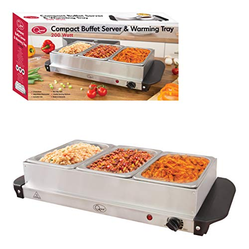 Quest 16520 Compact Buffet Server and Warming Tray / 3 x 1.2L Trays / 200W / Rapid Heating / Adjustable Thermostat / Lids Included