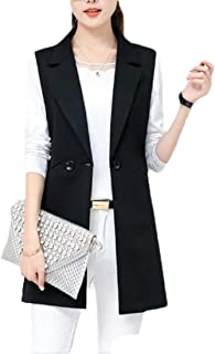 Womens Casual Sleeveless Lapel Two Button Draped Open Front Vest Coat