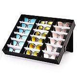 Winbang Caja expositora para Gafas, 18 Ranuras, Caja de exhibición para Gafas, Gafas de Sol y Joyas, Caja de Almacenamiento con función Atril