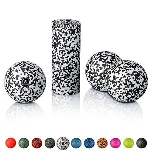 BODYMATE Faszien Mini-Set Schwarz-Weiß - Mini-Faszien-Rolle L15xD6cm, Ball D8cm und Duo-Ball D8cm im Set