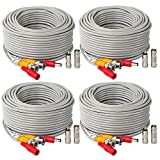 4Pack 25Feet BNC Vedio Power Cable Pre-Made Al-in-One Camera Video BNC Cable Wire Cord Gray Color for Surveillance CCTV Security System with Connectors(BNC Female and BNC to RCA)