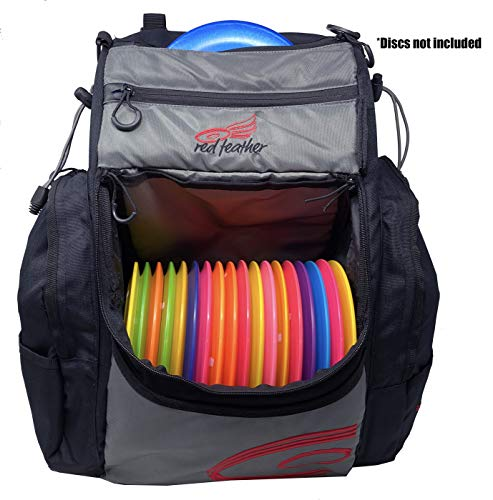 Red Feather Disc Golf Backpack – 20+ Disc Capacity with Matching Rainfly – Extra Storage and 2 Water Bottle Holders
