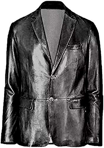 Ugsgdhgsdd Plain Stylish Slifit Waxed Black Real Leather Blazer Coat for Men's,Brown,XS