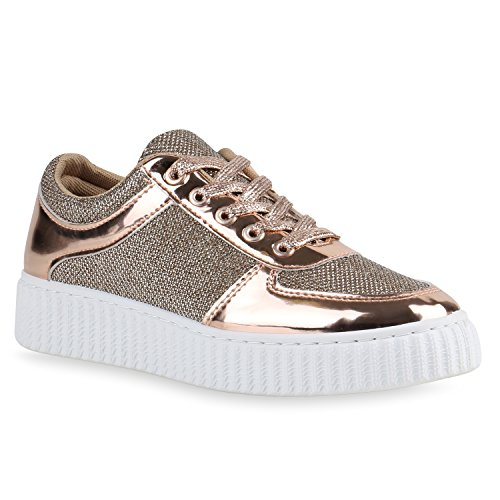 Plateau Sneakers Damen Sneaker Low Glitzer Metallic Sport Strass Lack Animal Print Camouflage Schuhe 139297 Rose Gold Weiss 37 Flandell