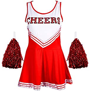 Customer reviews Ladies REDSTAR Cheerleader Costume Outfit With Pom Poms - Fancy Dress Costume Sports High School Halloween - 6 Colours / Size 6-16
