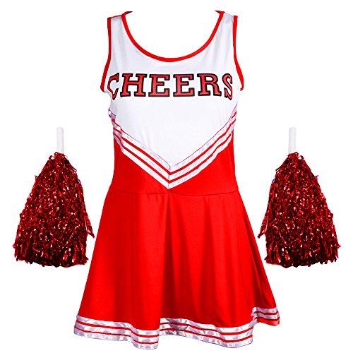 Damen Redstar – Cheerleader-Kostüm mit Pompons,Fantasiekleid, Kostüm für Sport, Highschool, Musical, Halloween –6Farben, Größen 34–42