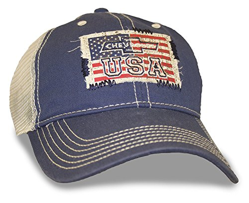Navy Hat Mesh American Flag Chevy USA Patch