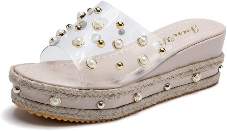 Btrada Women Flip Flops Beach Sandals Fashion Bling Pearl Summer Flat Platform Ladies Transparent Slippers