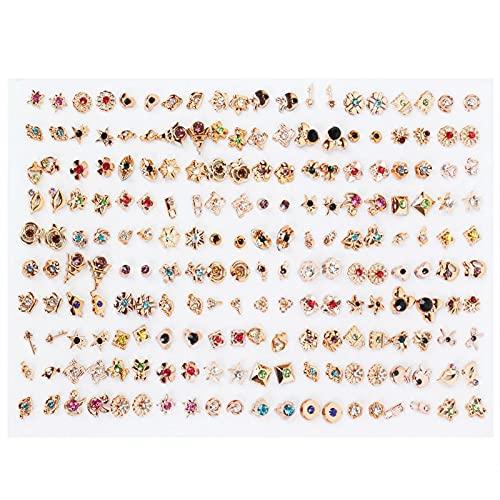 SHAOKAO 100 pares de estilos surtidos Mini plástico hipoalergénico Stud Pendientes lote para niños Corazón Niño Pendientes Moda Joyería Perla Pendientes Oro