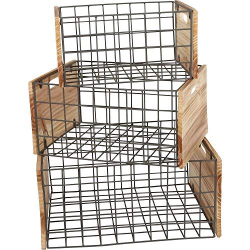 Caisse en bois grilles, lot de 3 en style industriel, pour décorer ou faire des rangements, tailles différentes, s'emploie de manière universelle
