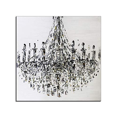 CCMANOR Original Handgemalte Leinwand,Künstler Handgemalte Acryl Malerei Muster Kronleuchter Öl Malerei Moderne Mode Leinwand Bild Dekoration, 40 × 40 cm Rahmenlos