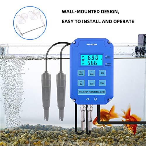 Xzbnwuviei Digitaler WLAN-Regler, PH-803W 2-in-1 PH ORP Redox-Controller, WiFi-Ausgang, Leistungsrelais-Monitor, Wasserqualitätsprüfer für Laboranalyse, Aquarium, Hydrokultur