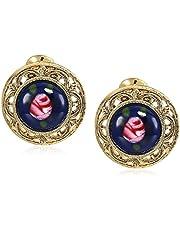 أقراط نسائية من 1928 من المجوهرات باللون الذهبي والأزرق مع زهرة وردية مرصعة بأقراط دائرية ذات مشبك دائري، متعددة، مقاس واحد