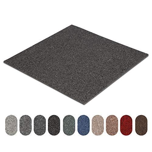 Teppichfliesen Astra | selbstliegend | Strapazierfähig und pflegeleicht | Bodenbelag für Büro und zu Hause | 50x50 cm | Erhältlich in vielen Farben (Anthrazit 78)