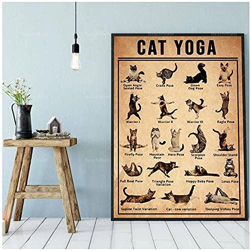 DLFALG Póster de yoga divertido Iyengar Yoga Asanas gato Yoga Animal póster lienzo pintura pared arte imagen impresiones decoración del hogar-40x60cm sin marco
