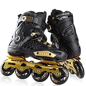 BTYKJ Patines, Zapatos Planos Elegantes para Hombres y Mujeres, disposición de Ruedas Rectas para Principiantes 42 Oro Negro