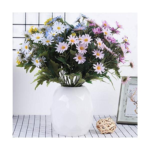 FagusHome Artificial Daisy Flowers – 3 Ramos de Seda Daisy Bouquets Flores Artificiales Fake Gerbera Daisy Flower Faux…