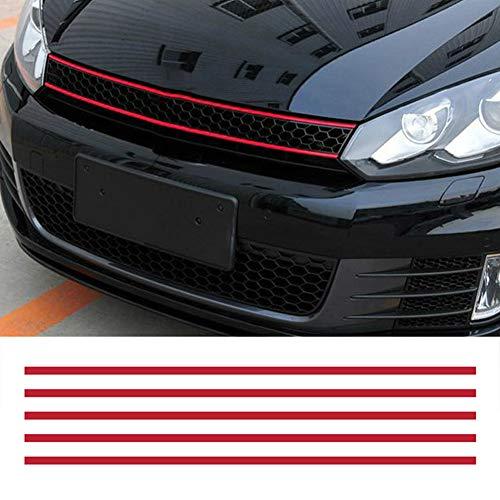 YSHtanj Externe Decoratie Auto Sticker Voorkap Grille Decals Auto Strip Sticker Decoratie voor VW Golf 6 7 Tiguan - Rood