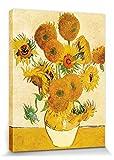 1art1 Vincent Van Gogh - Catorce Girasoles En Un Florero, 1888 Cuadro, Lienzo Montado sobre Bastidor (40 x 30cm)