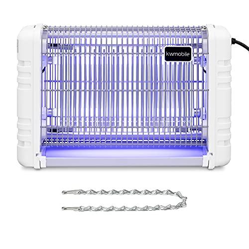 kwmobile Lámpara LED exterminadora de insectos - Luz mata moscas avispas mosquitos polillas y plaga con depósito - Exterminador de insectos - Blanco