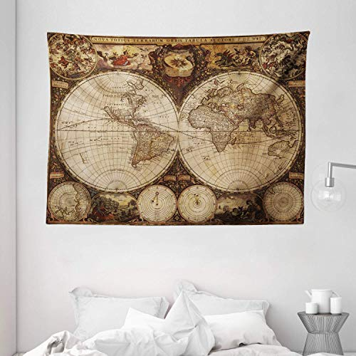 Tapestry Wall Hanging, World Map Tapestry Old World Map Drawn In 1720S Nostalgic Style Art Historical Atlas Vintage Design Wide Pale Brown Wall Decor for Dorm Living Room Bedroom 60x80 Inch