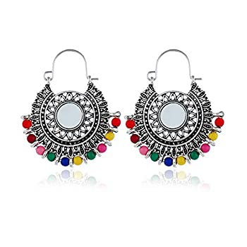 Antique Ethnic Brocade Mexico Gypsy Engraved Lotus Hook Dangle Earrings for Women and Girls