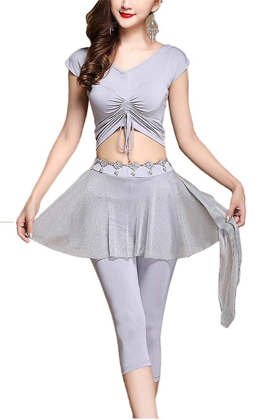 保護する人形写真Dance Zone レディース ベリーダンス トップス Tシャツ スカート付きパンツ 半袖 光沢 2WAY 紐付き Vネック 透け セットアップ 2点セット 華やか 爽やか レッスン ステージ 舞台 ダンス 衣装 発表会