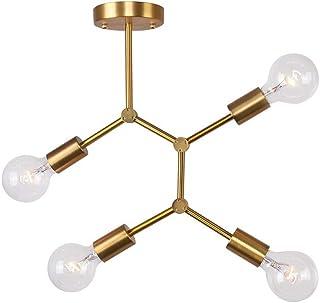 Lingkai - Lámpara de araña de techo moderna, creativa, iluminación interior industrial, 4 luces, casquillo E27, lámpara de techo para comedor, dormitorio, salón, oro