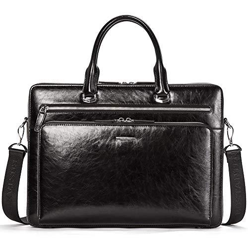 BOSTANTEN Leather Briefcase Shoulder 15.6 'Laptop Business Vintage Slim Messenger Bags for Women & Men Black